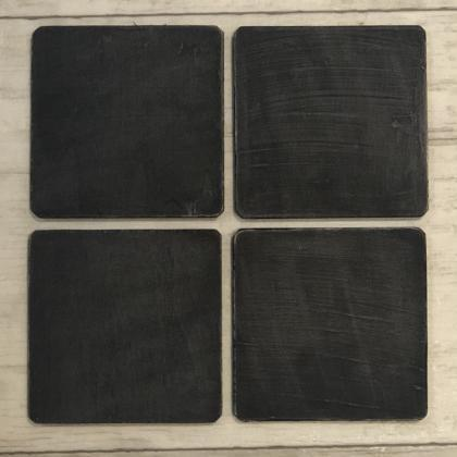 Black Painted Wood Coasters, Distre..