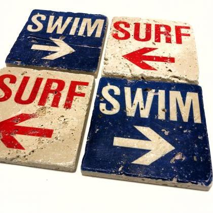 Surf Swim Natural Stone Coasters, S..