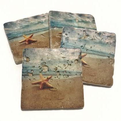 Beach Premium Coasters, Starfish on..