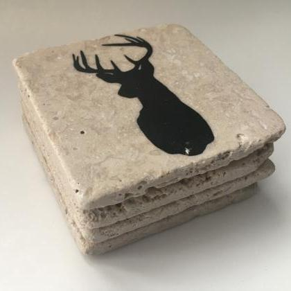 Deer Head Coasters, Natural Stone C..