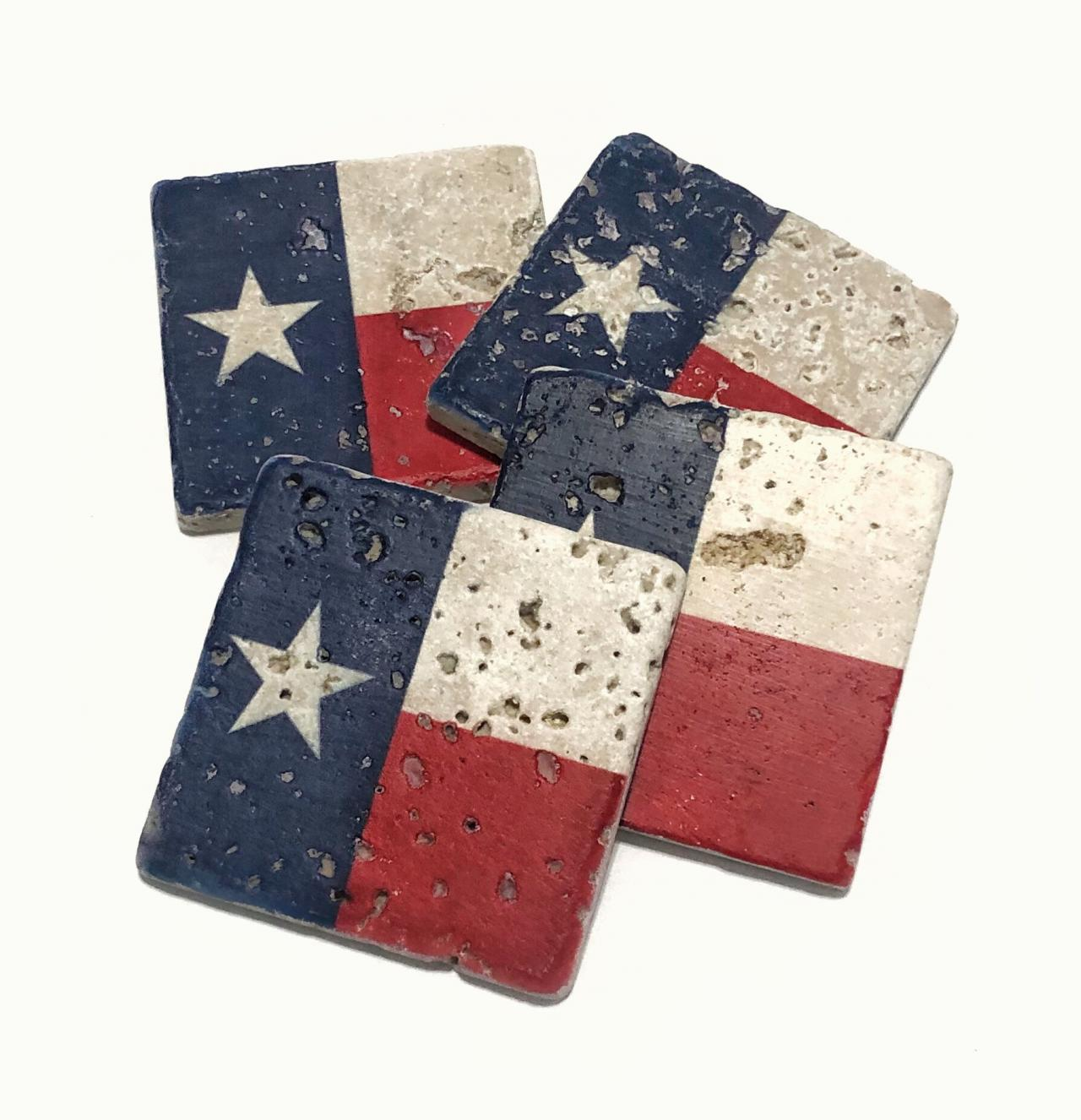 Texas State Flag Premium Natural Stone Coasters, Rustic Home Decor