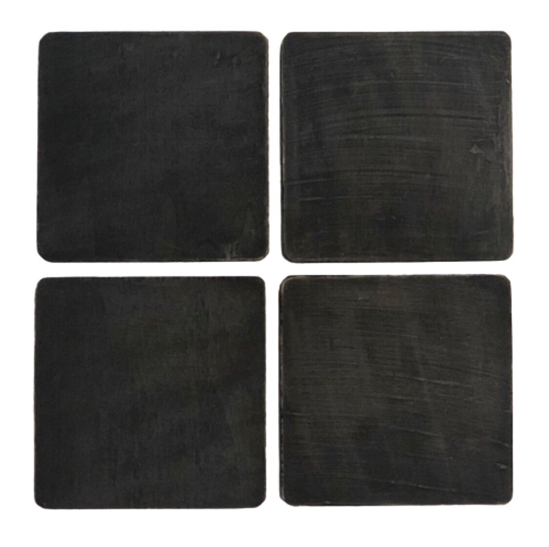 Black Painted Wood Coasters, Distressed, Set of 4