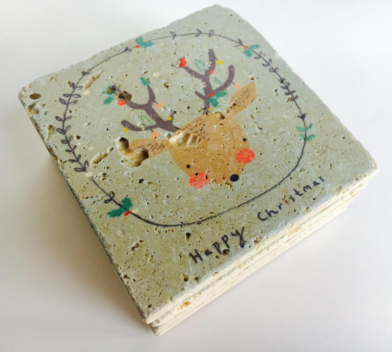 Happy Christmas Reindeer, Natural Stone Coasters, Set of 4, Christmas Coasters