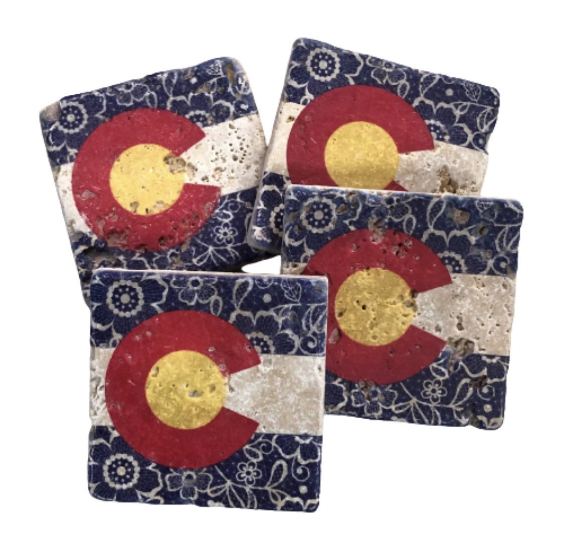 Coaster Set Colorado Lace State Flag Natural Stone Coasters Set of 4 with Full Cork Bottom Colorado State