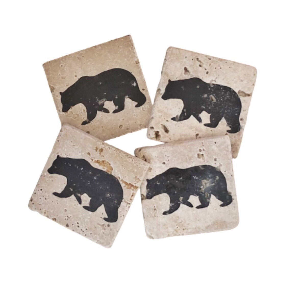 Black Bear Premium Natural Stone Coasters Set of 4, Rustic Wildlife, Made in USA