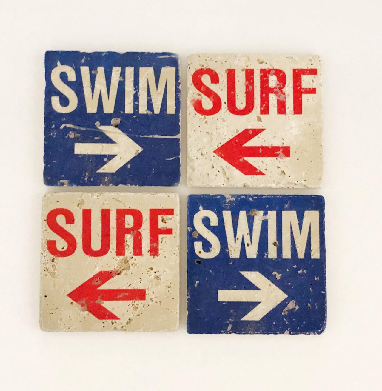 Surf Swim Natural Stone Coasters, Set of 4 with Full Cork Bottom