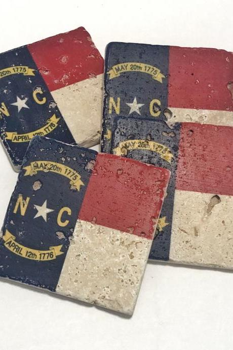 North Carolina State Flag Premium Natural Stone Coasters