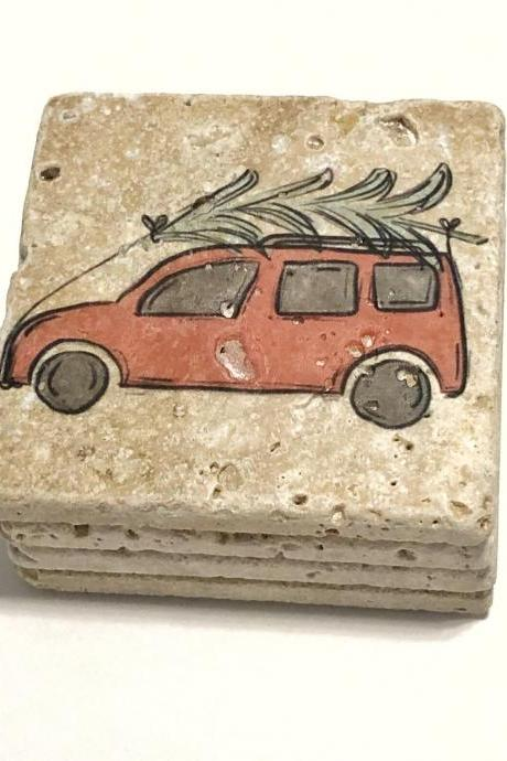 Pink Car with Christmas Tree, Natural Stone Coasters Set of 4, Christmas Coasters, Holiday Decor