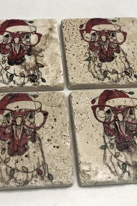 Holiday Chicken, Natural Stone Coasters Set of 4, Santa Hat with Christmas Lights