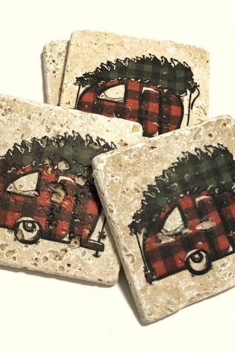 Camper with Christmas Tree, Natural Stone Coasters Set of 4, Full Cork Bottom, Plaid Camper