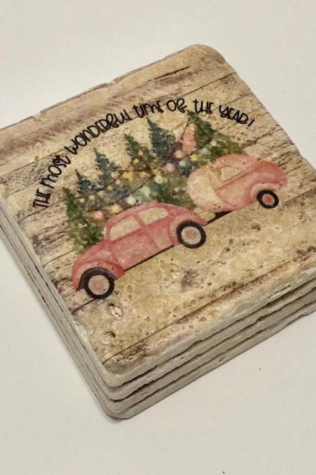 Pink Bug Christmas Coasters, Natural Stone Coasters Set of 4, The Most Wonderful Time Of The Year