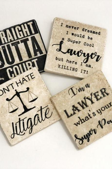 Lawyer Coasters, Natural Stone Coasters Set of 4, Attorney Coasters, Judge Coasters, Gift for Attorney
