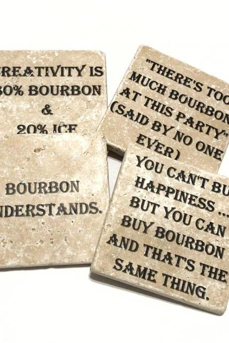 Bourbon Coasters, Natural Stone Coasters Set of 4 Different Quotes