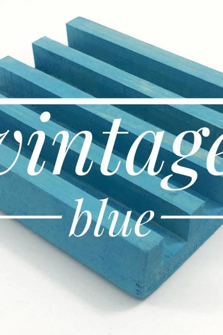 Vintage Blue Stained Wooden Coaster Stand