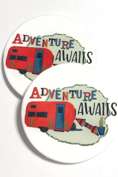 Adventure Awaits Car Coasters Set of 2, Camper Decor, Stocking Stuffer