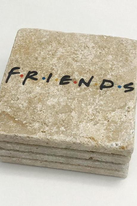 FRIENDS Natural Stone Coaster Set of 4 with Full Cork Bottom