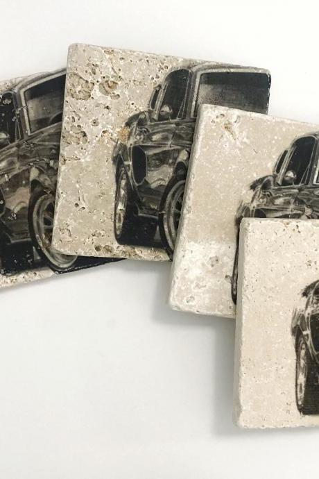Classic Car Natural Stone Coasters Set of 4 with Full Cork Bottom Vintage Car Coasters