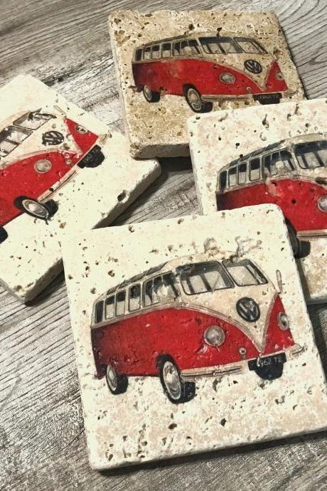 Red Bus Natural Stone Coasters Set of 4 with Full Cork Bottom Vintage