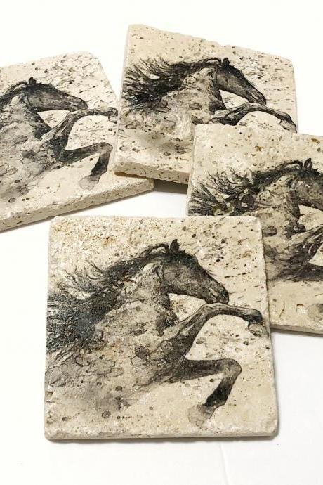 Black & White Watercolor Horse, Natural Stone Coasters, Set of 4, Horse Coasters, Watercolor Coasters, Rustic Decor, Gift
