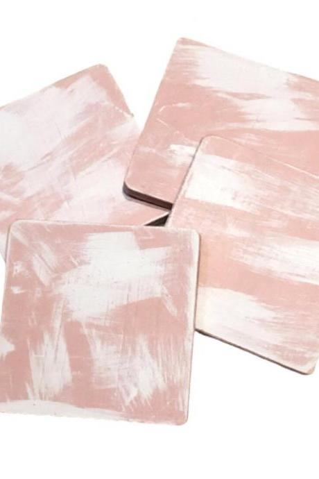 Pink Painted Wood Coasters with a Splash of White, Distressed, Set of 4