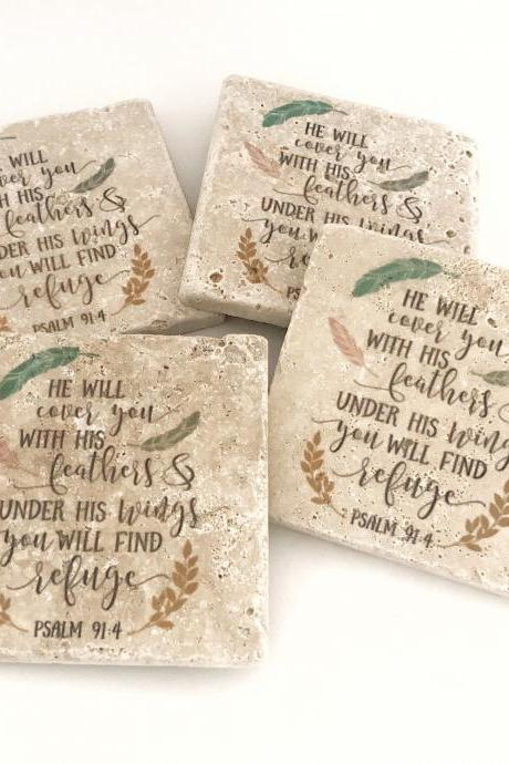 Psalm 91:4 Coasters, Natural Stone Set of 4, He will cover you with his feathers, and under his wings you will find refuge