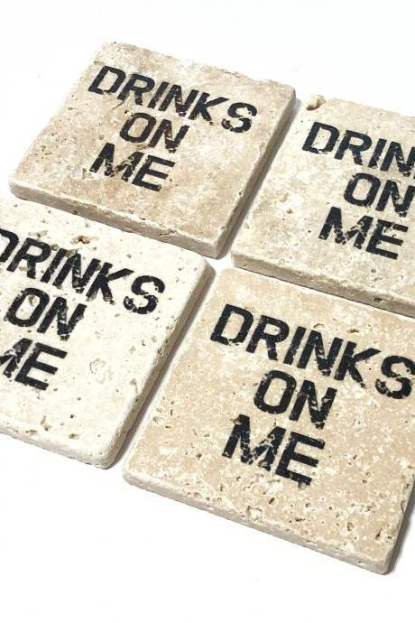 Drinks On Me Natural Stone Coasters Set of 4