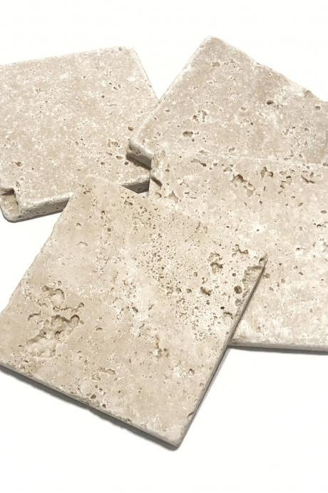 Plain Natural Stone Coasters, Set of 4, Blank