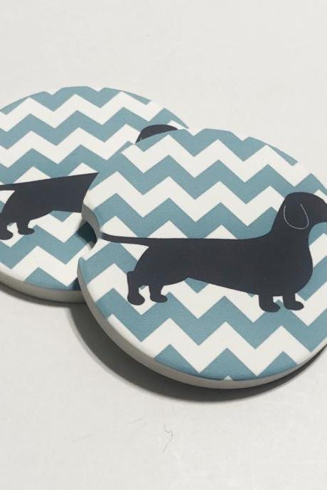 Dachshund Car Coasters Set of 2, Sandstone, Wiener Dog