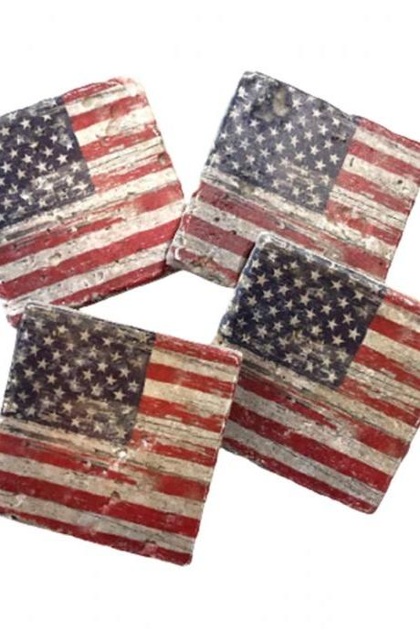 Distressed American Flag Premium Natural Stone Coasters, Rustic, Patriotic, Made in USA
