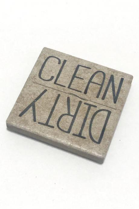 Dishwasher Magnet, Clean Dirty, Made of Stone, Stocking Stuffer, Housewarming Gift
