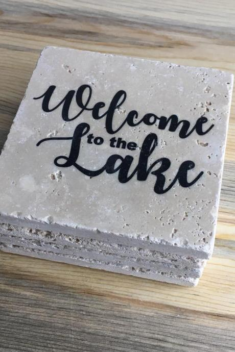 Welcome to the Lake, Natural Stone Coasters, Set of 4