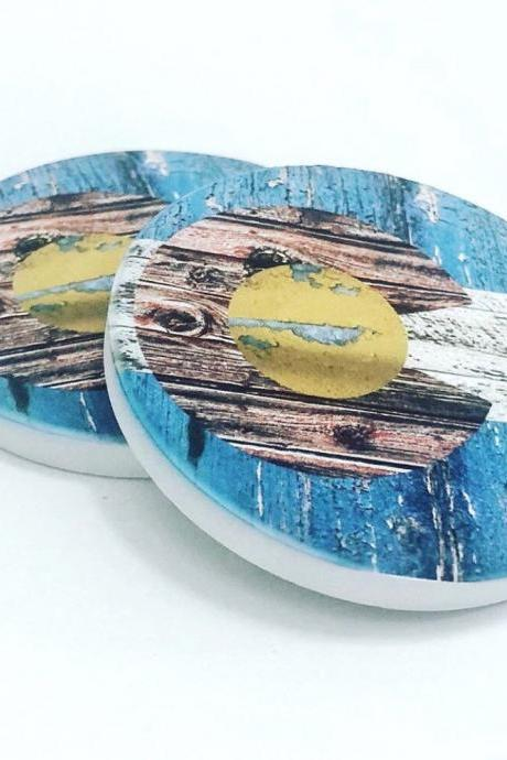 Colorado Flag with Barnwood Look Car Coasters Set of 2, Round Coasters, Stocking Stuffer, Gift for him or her