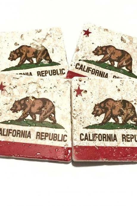 California State Flag Premium Natural Stone Coasters, California Republic, Rustic Home Decor, Housewarming Gift