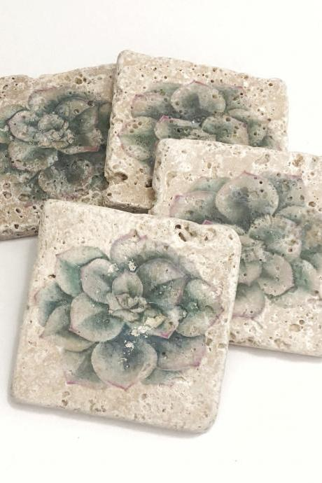 Succulent Coasters, Premium Natural Stone Coasters, Set of 4 with Full Cork Bottom, Gardener, Plant Lover Gift