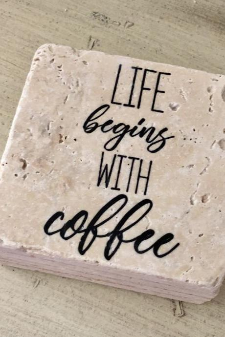 Life Begins With Coffee Premium Natural Stone Coasters, Set of 4, Full Cork Bottom, Coffee Lover, Rustic Decor, Girlfriend Gift