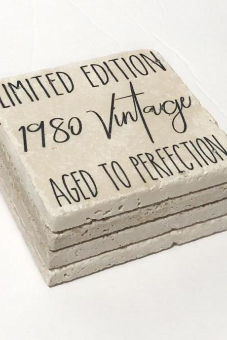 1980 Coasters, Limited Edition 1980 Vintage Aged to Perfection, Natural Stone