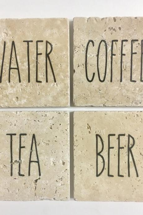 Rae Dunn Inspired Coasters, Water Tea Coffee Beer, Natural Stone, Set of 4