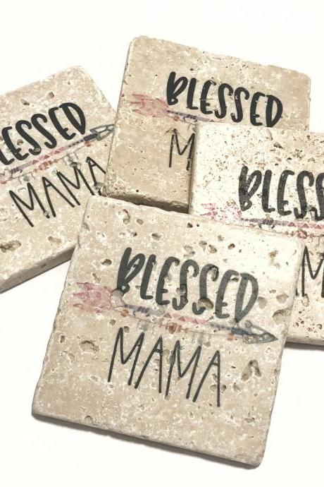 Blessed Mama, Natural Stone Coasters, Set of 4, Full Cork Bottom, Mothers Day, Mom Gift, Rustic Decor