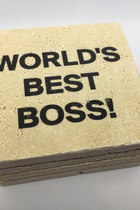 World's Best Boss Coasters, Premium Natural Stone Coasters w/Full Cork Bottom, Funny Coasters, Workplace Gift, Boss Day