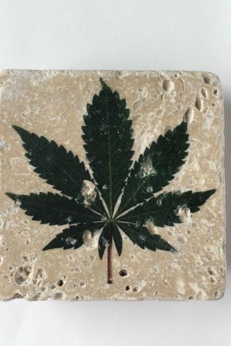 Marijuana Coasters, Weed Leaf, Pot Leaf, Natural Stone, Set of 4, Full Cork Bottom, Rustic Decor