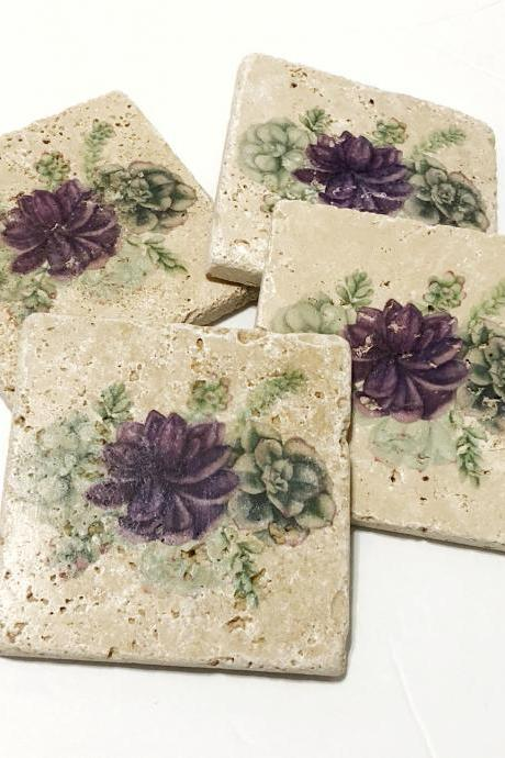 Succulent Coasters, Natural Stone Coasters, Set of 4 with Full Cork Bottom, Succulents