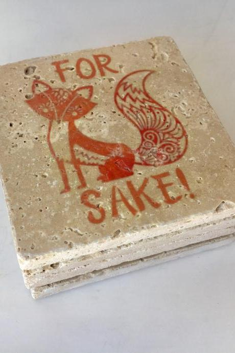 For Fox Sake Natural Stone Coasters, Set of 4 with Full Cork Bottom