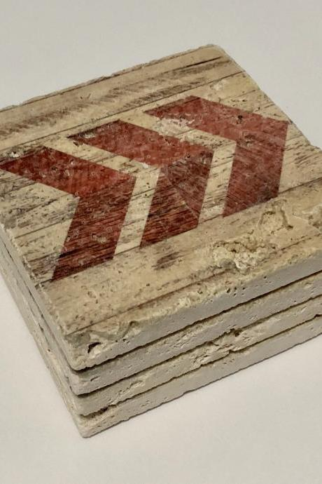 Red Chevron Arrow Natural Stone Coaster Set of 4 with Full Cork Bottom Wood Look Barnwood