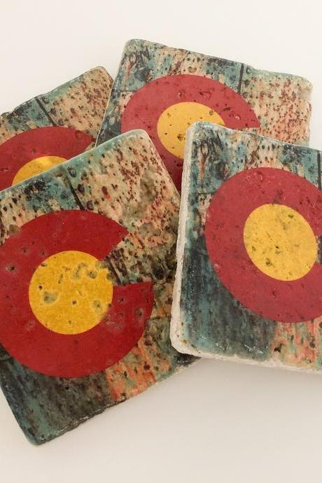 Rusty Colorado Flag State Flag Natural Stone Coasters Set of 4 with Full Cork Bottom Colorado State