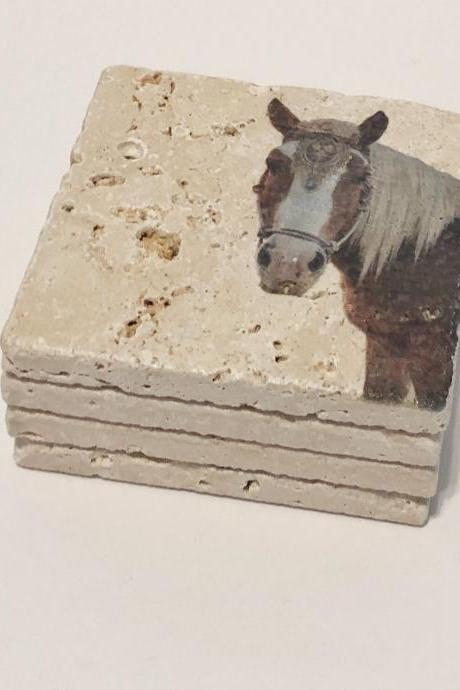 Horse Coasters, Natural Stone Coasters, Set of 4, Full Cork Bottom, Rustic Decor, Horse Decor, Farmhouse Decor, Travertine