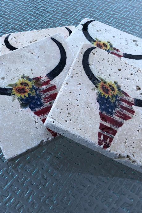 Skull With American Flag Coasters Natural Stone Coasters Set of 4 with Full Cork Bottom Cow Skull