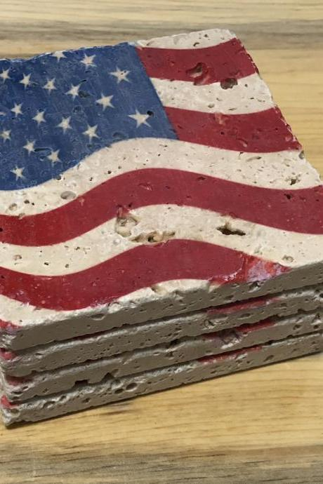 Wavy American Flag Coasters Premium Natural Stone Coasters with Full Cork Bottom Rustic Flag