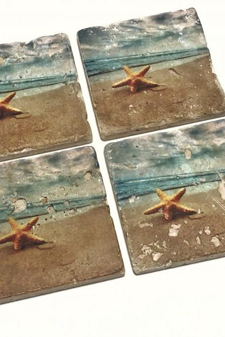 Beach Premium Coasters, Starfish on the Beach, Natural Stone with Full Cork Bottom, Nautical Themed Beach House Decor