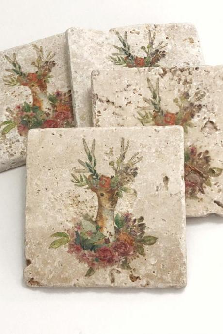 Floral Deer, Natural Stone Coasters, Set of 4, Full Cork Bottom, Rustic Decor, Farmhouse Decor