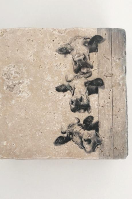 Cow Natural Stone Coaster Set of 4 with Full Cork Bottom
